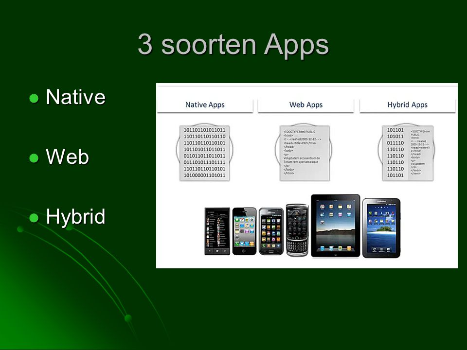 3 soorten Apps Native Web Hybrid