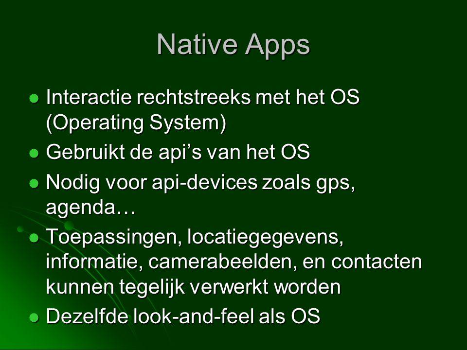 Native Apps Interactie rechtstreeks met het OS (Operating System)