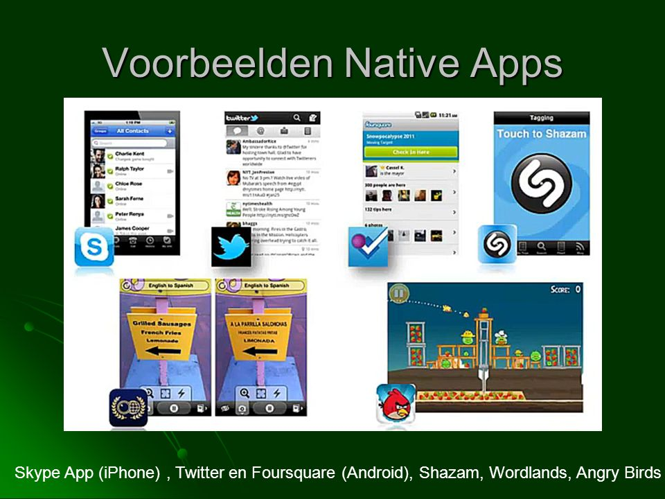 Voorbeelden Native Apps