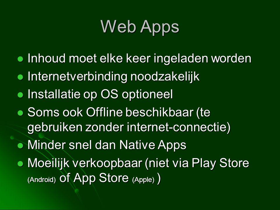 Web Apps Inhoud moet elke keer ingeladen worden