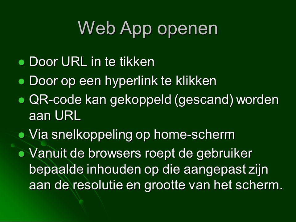 Web App openen Door URL in te tikken Door op een hyperlink te klikken