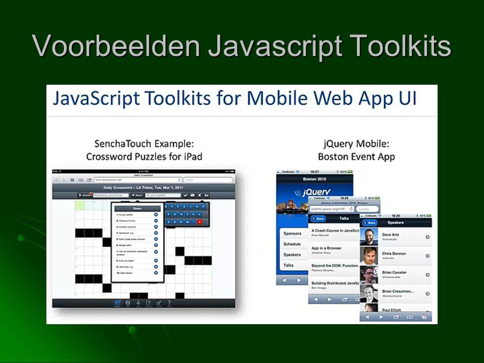 Voorbeelden Javascript Toolkits