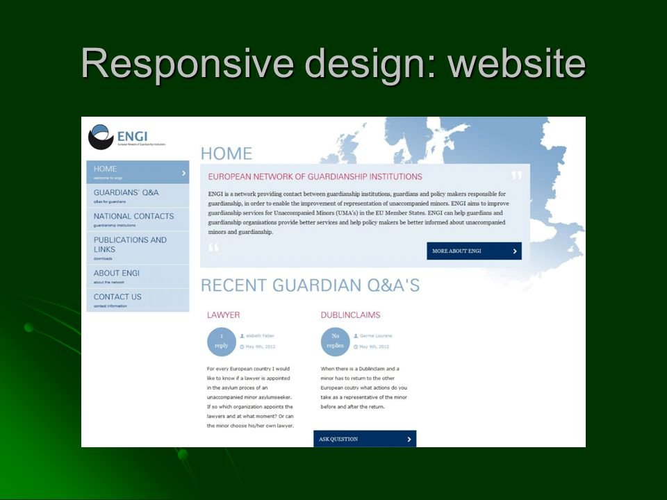 Responsive design: website