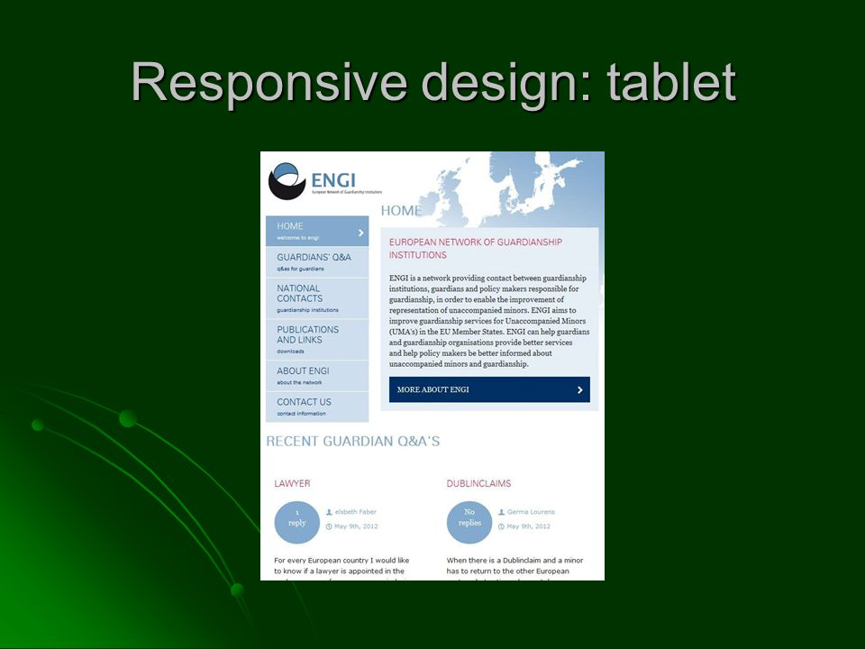 Responsive design: tablet