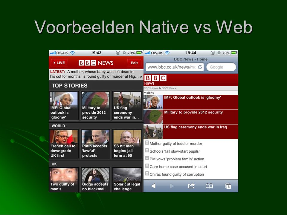 Voorbeelden Native vs Web