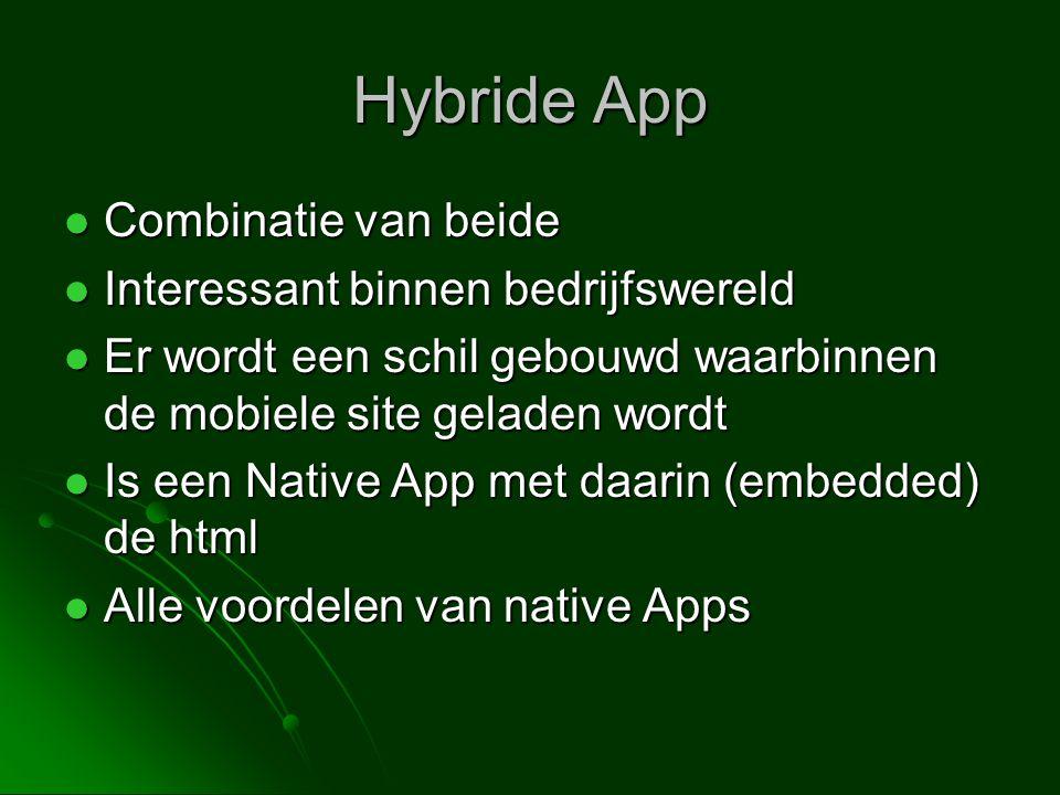 Hybride App Combinatie van beide Interessant binnen bedrijfswereld