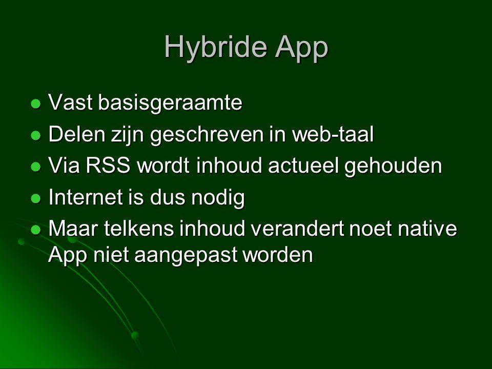 Hybride App Vast basisgeraamte Delen zijn geschreven in web-taal