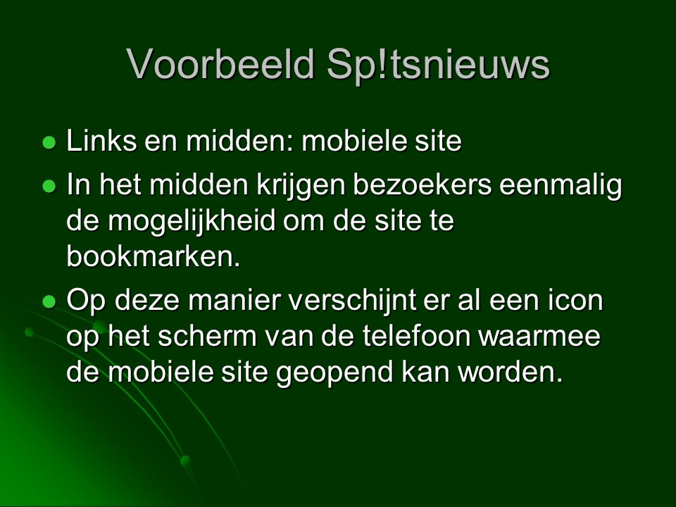 Voorbeeld Sp!tsnieuws Links en midden: mobiele site