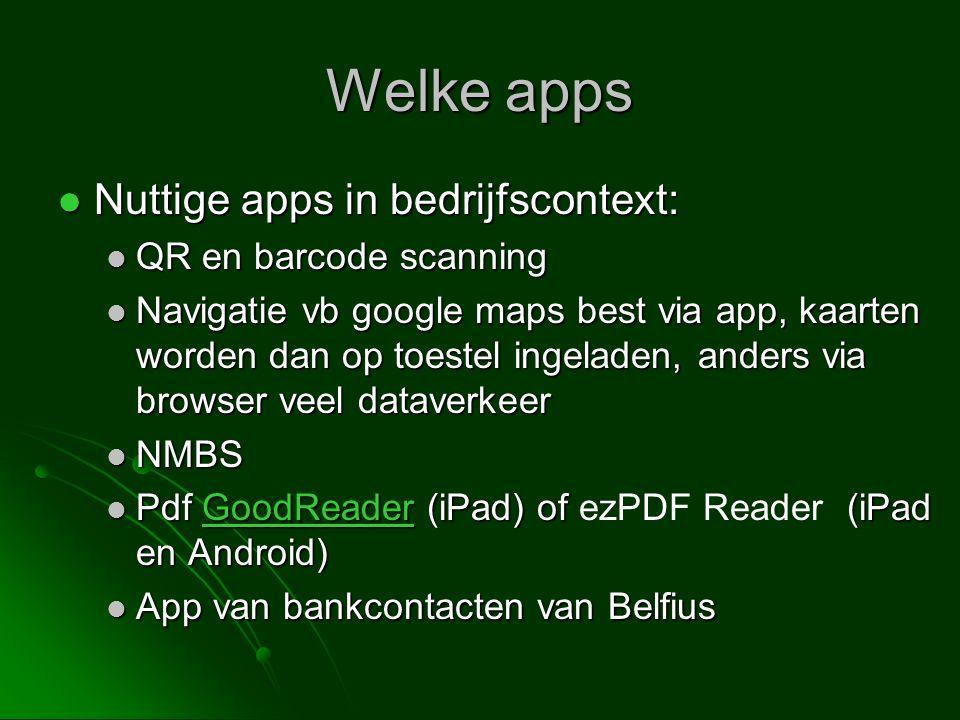 Welke apps Nuttige apps in bedrijfscontext: QR en barcode scanning