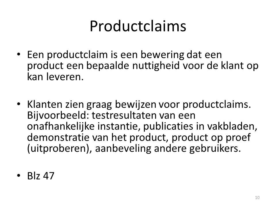 Productclaims Een productclaim is een bewering dat een product een bepaalde nuttigheid voor de klant op kan leveren.