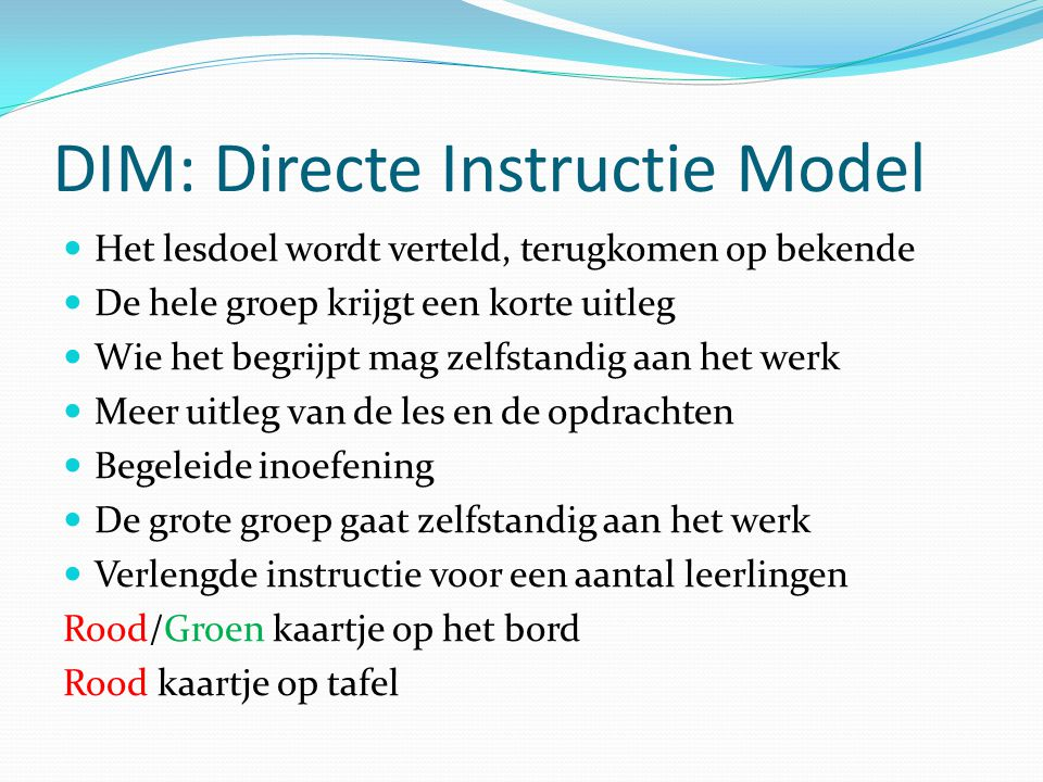 DIM: Directe Instructie Model