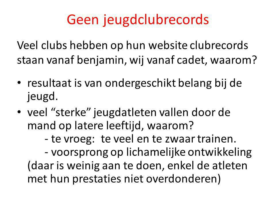 Geen jeugdclubrecords
