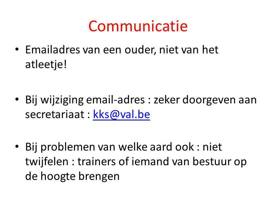 Communicatie Emailadres van een ouder, niet van het atleetje!