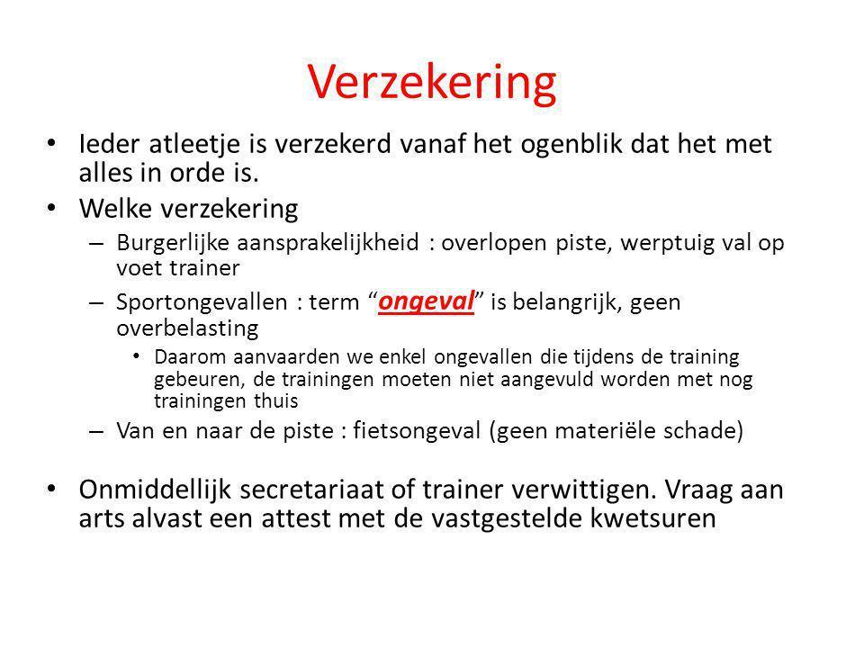Verzekering Ieder atleetje is verzekerd vanaf het ogenblik dat het met alles in orde is. Welke verzekering.