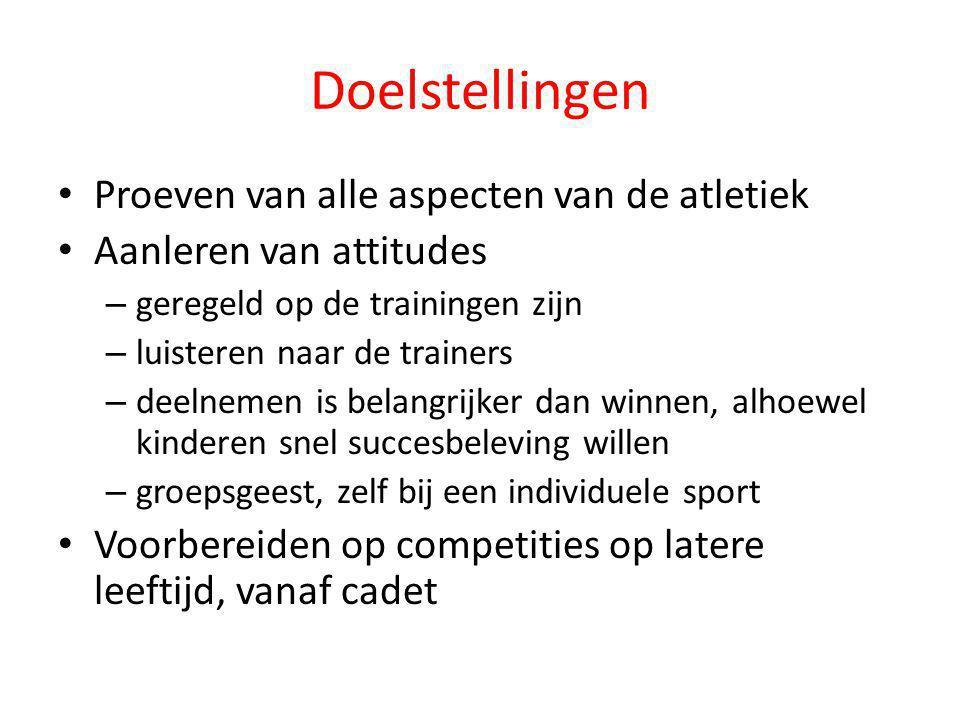 Doelstellingen Proeven van alle aspecten van de atletiek