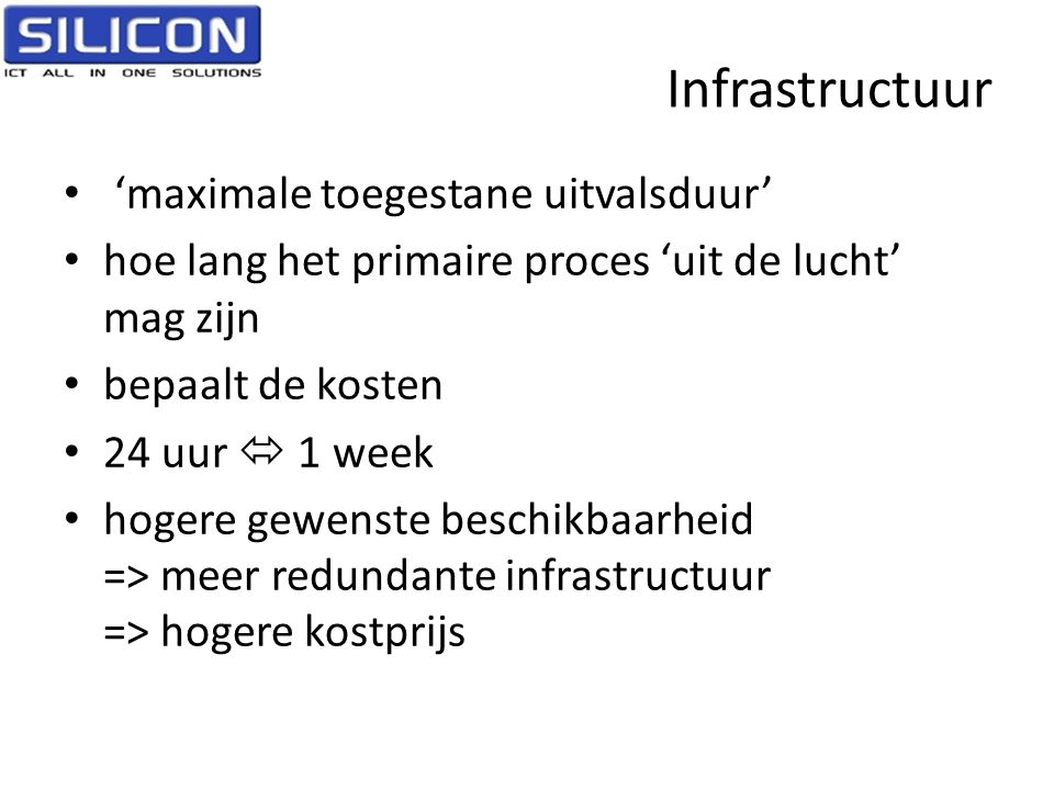 Infrastructuur 'maximale toegestane uitvalsduur'
