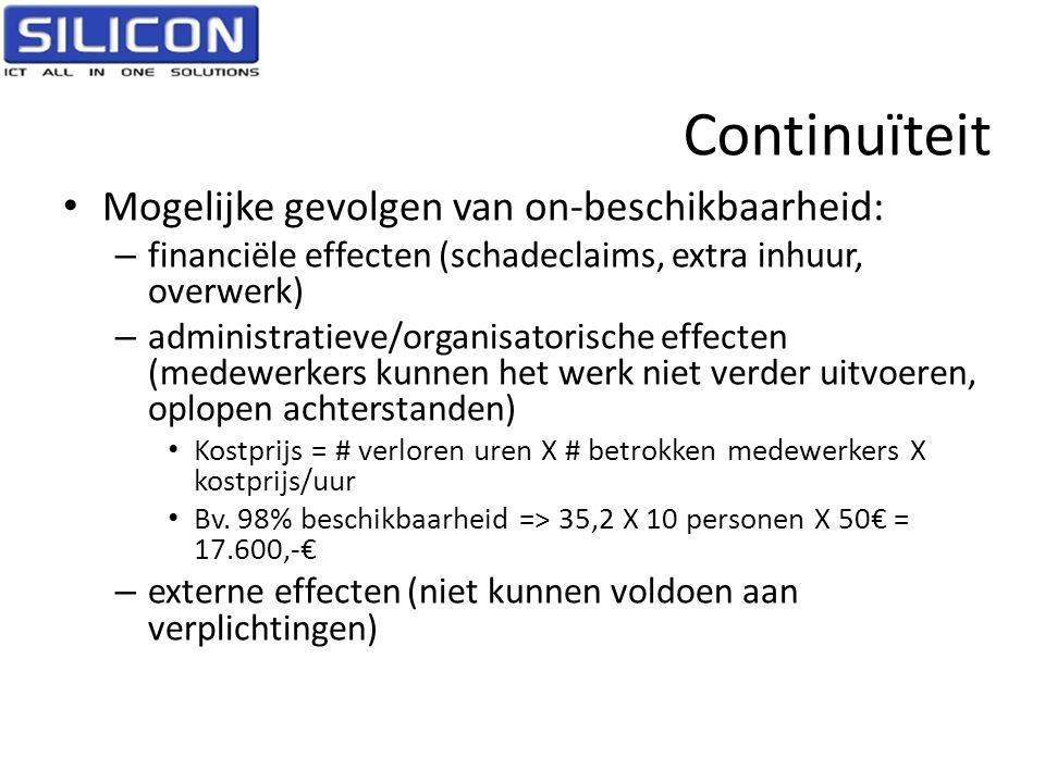 Continuïteit Mogelijke gevolgen van on-beschikbaarheid: