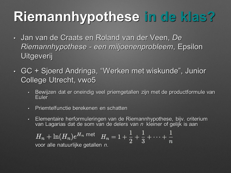 Riemannhypothese in de klas