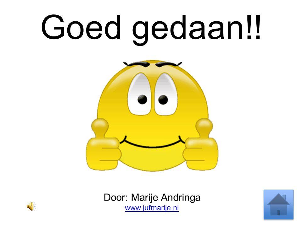 Goed gedaan!! Door: Marije Andringa www.jufmarije.nl
