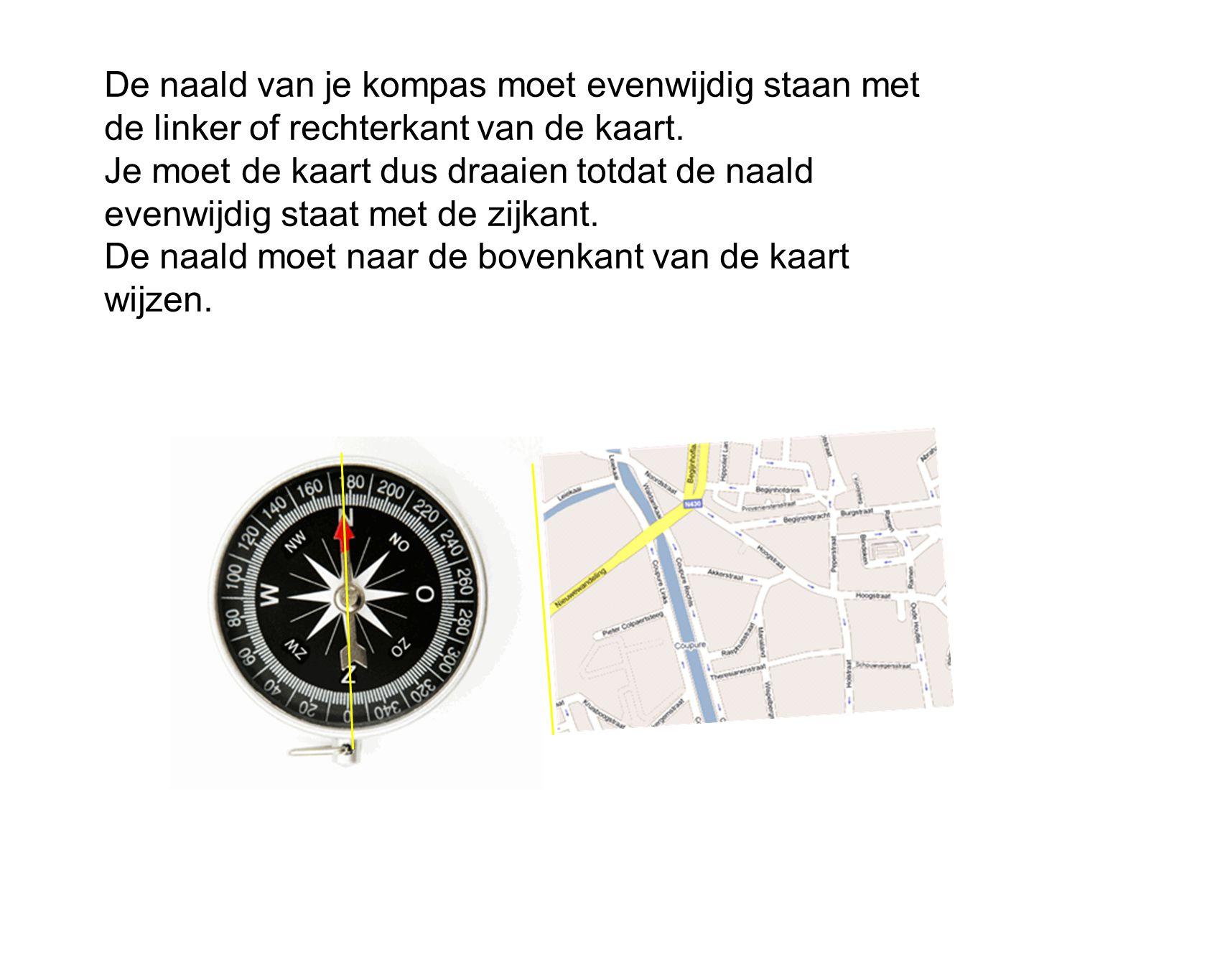 De naald van je kompas moet evenwijdig staan met