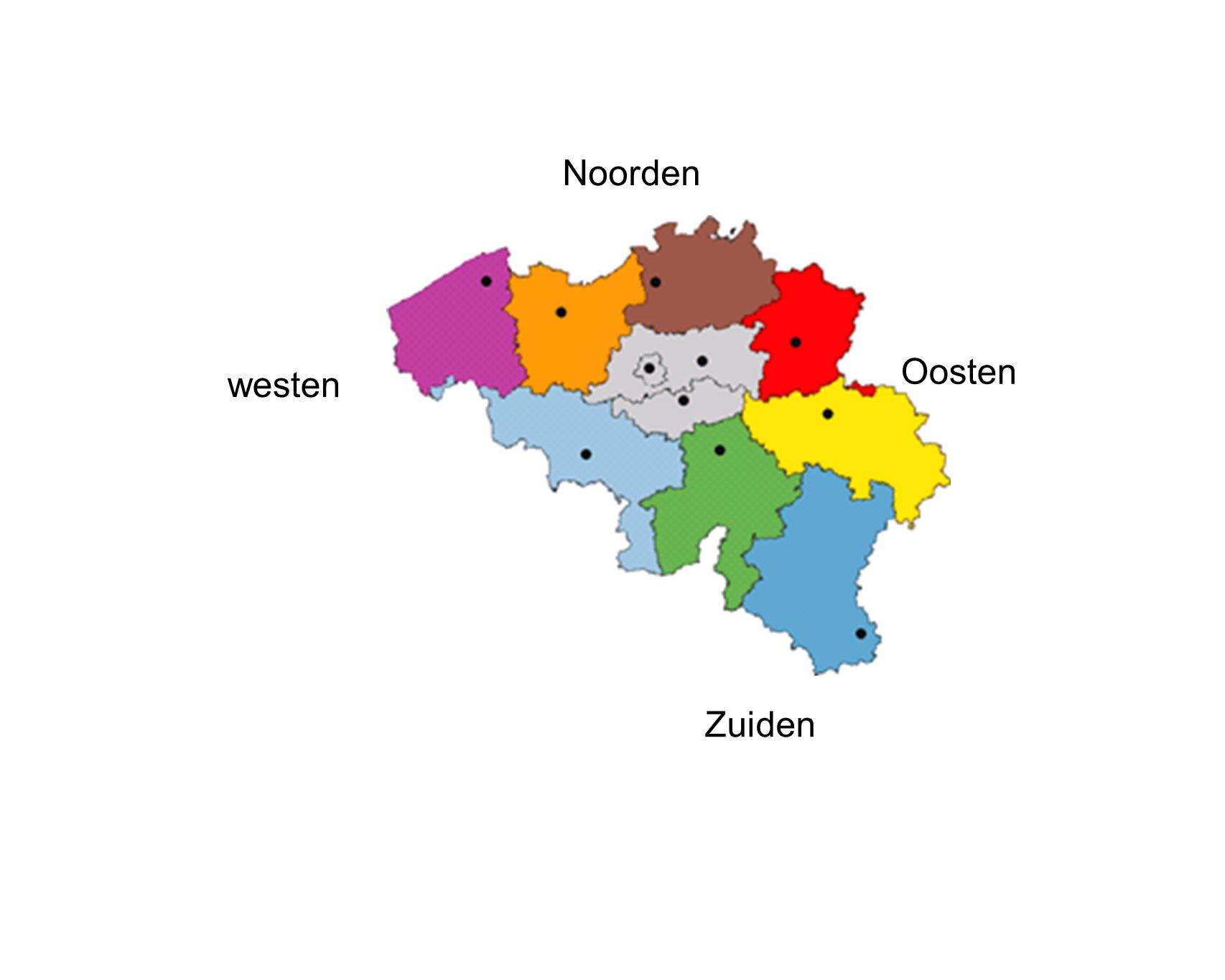 Noorden Oosten westen Zuiden
