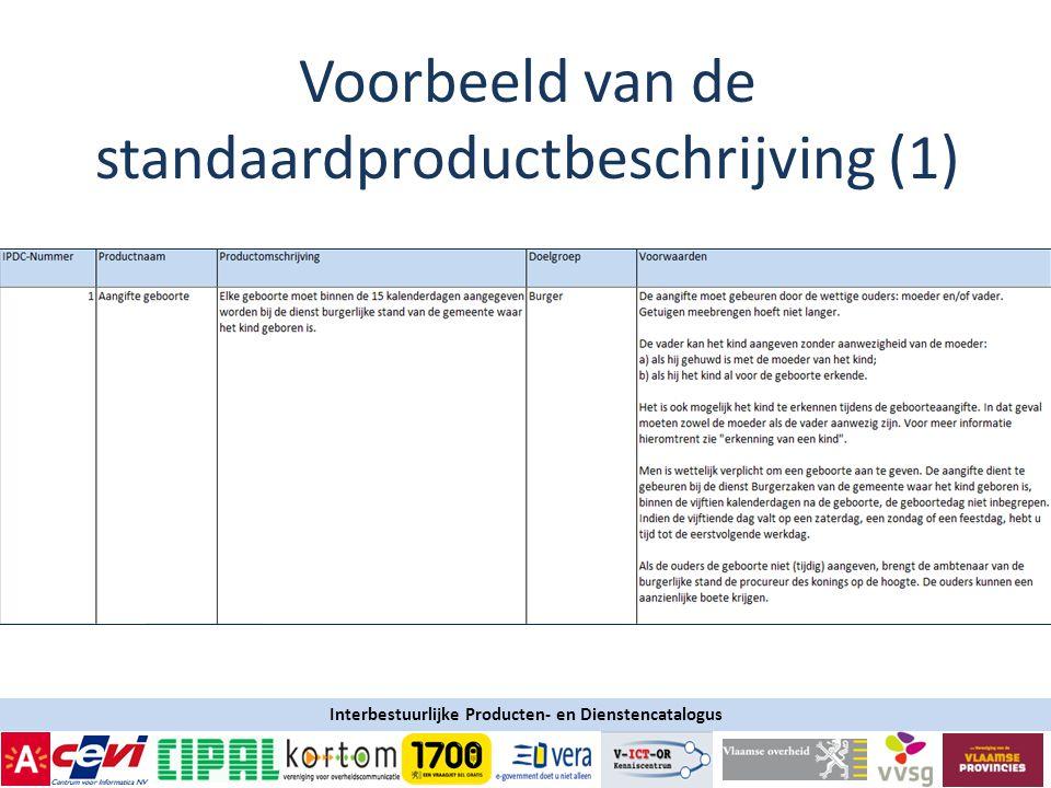 Voorbeeld van de standaardproductbeschrijving (1)