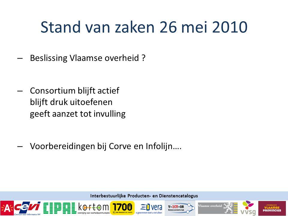 Stand van zaken 26 mei 2010 Beslissing Vlaamse overheid