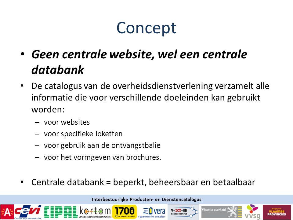 Concept Geen centrale website, wel een centrale databank