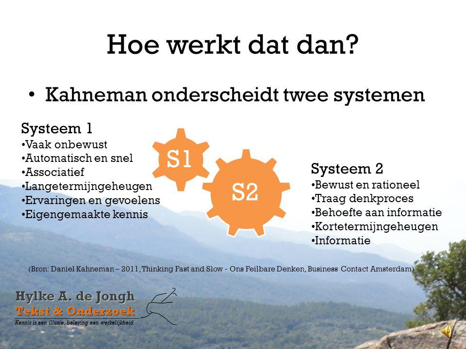 Hoe werkt dat dan S1 S2 Kahneman onderscheidt twee systemen Systeem 1