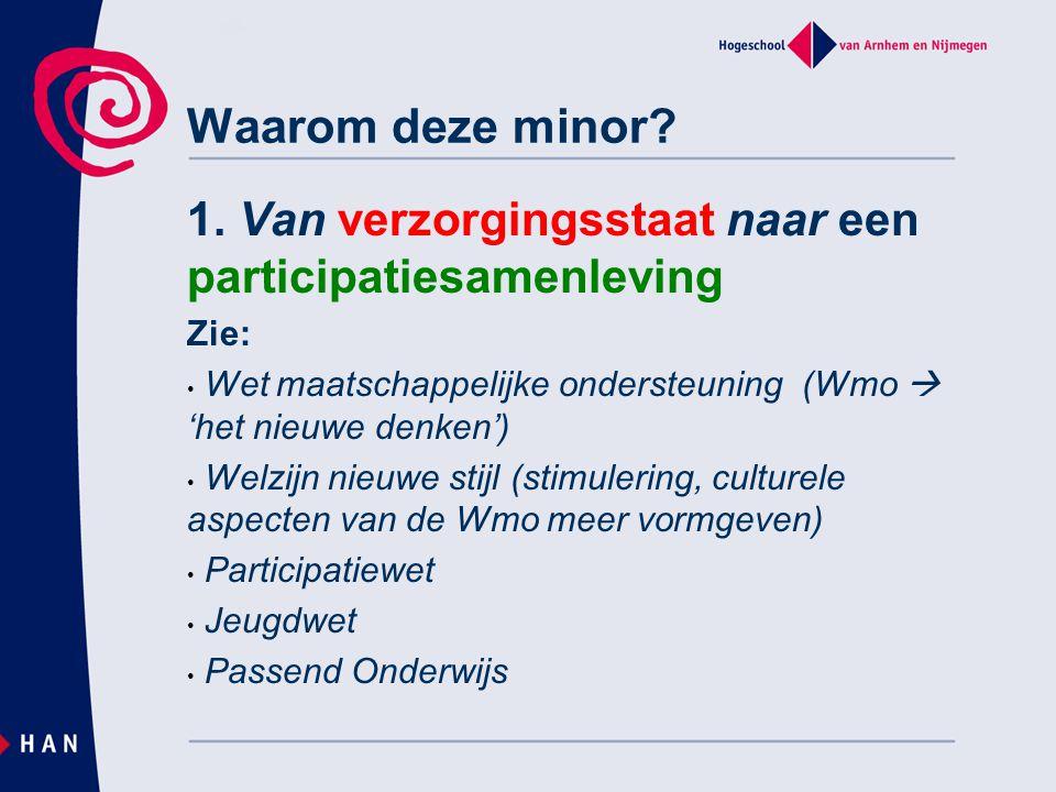 Waarom deze minor 1. Van verzorgingsstaat naar een participatiesamenleving. Zie: Wet maatschappelijke ondersteuning (Wmo  'het nieuwe denken')