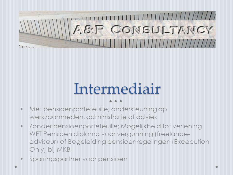 Intermediair Met pensioenportefeuille; ondersteuning op werkzaamheden, administratie of advies.