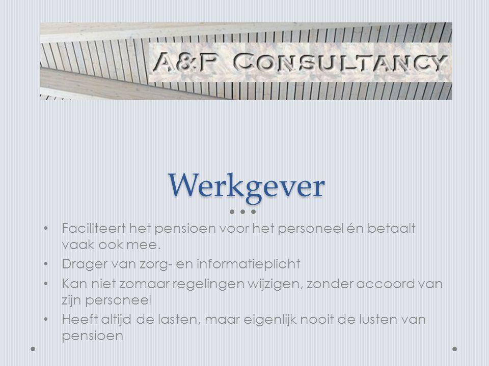 Werkgever Faciliteert het pensioen voor het personeel én betaalt vaak ook mee. Drager van zorg- en informatieplicht.