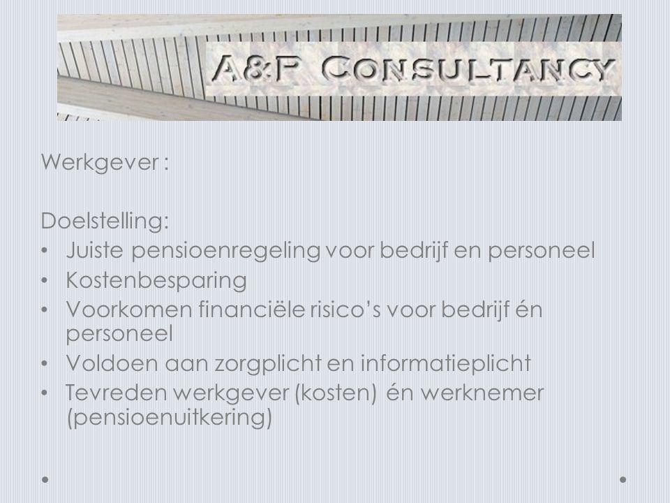 Werkgever : Doelstelling: Juiste pensioenregeling voor bedrijf en personeel. Kostenbesparing.