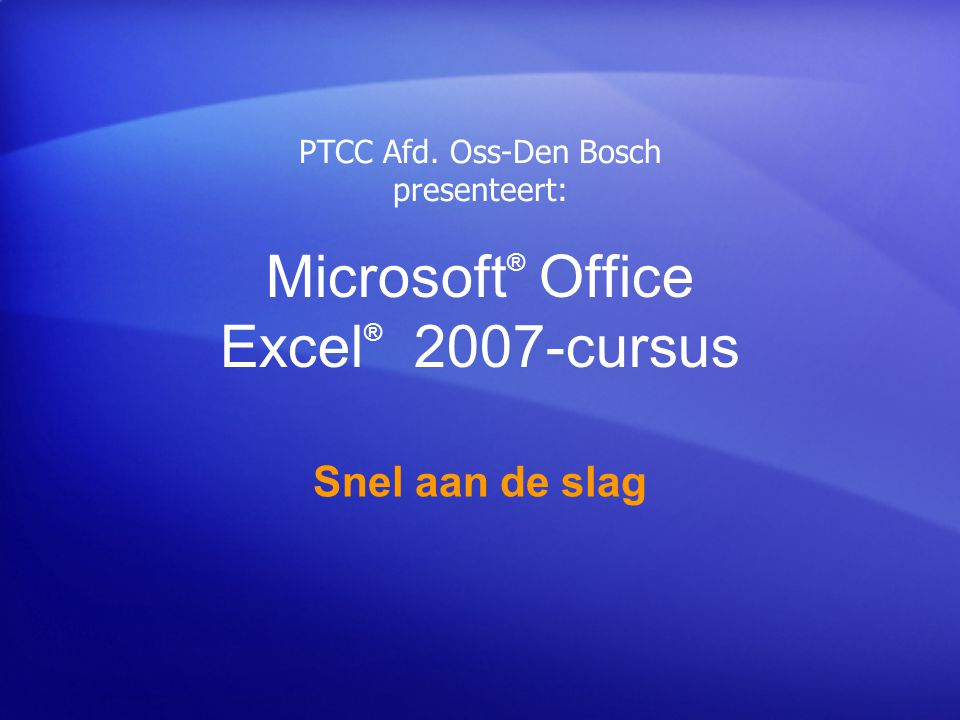 Microsoft® Office Excel® 2007-cursus