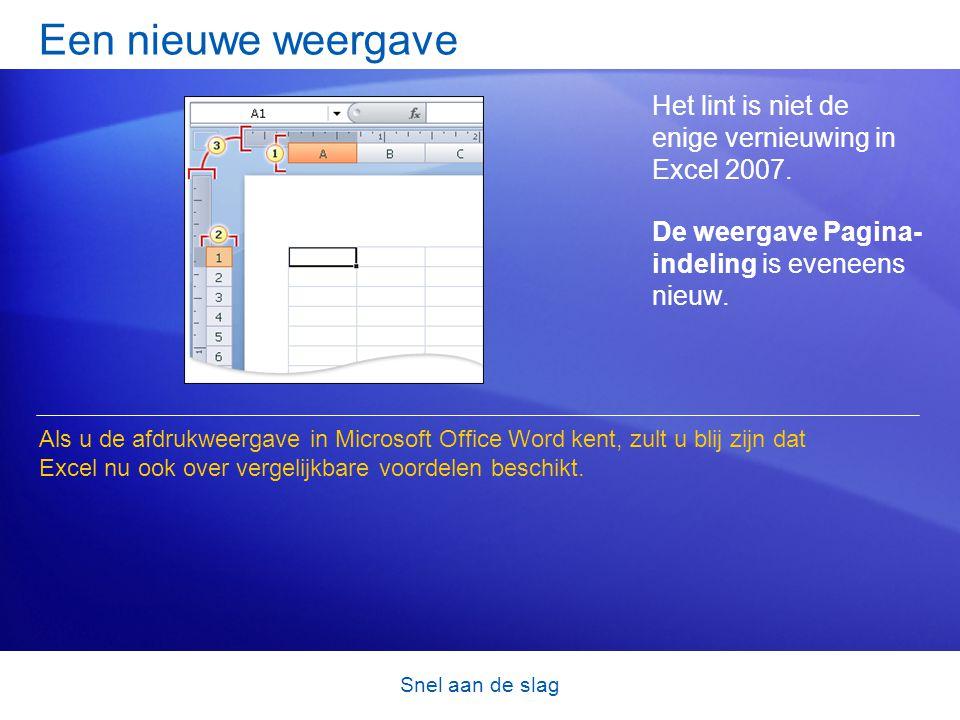Een nieuwe weergave Het lint is niet de enige vernieuwing in Excel 2007. De weergave Pagina- indeling is eveneens nieuw.