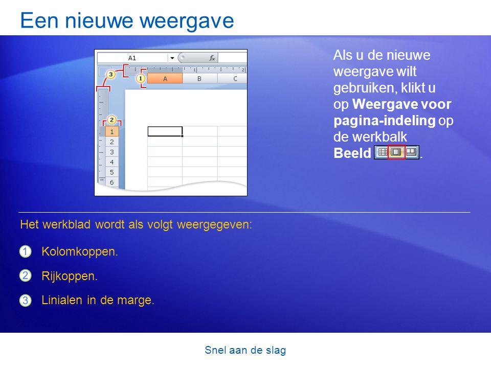Een nieuwe weergave Als u de nieuwe weergave wilt gebruiken, klikt u op Weergave voor pagina-indeling op de werkbalk Beeld .