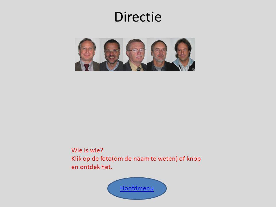 Directie Wie is wie Klik op de foto(om de naam te weten) of knop en ontdek het. Hoofdmenu