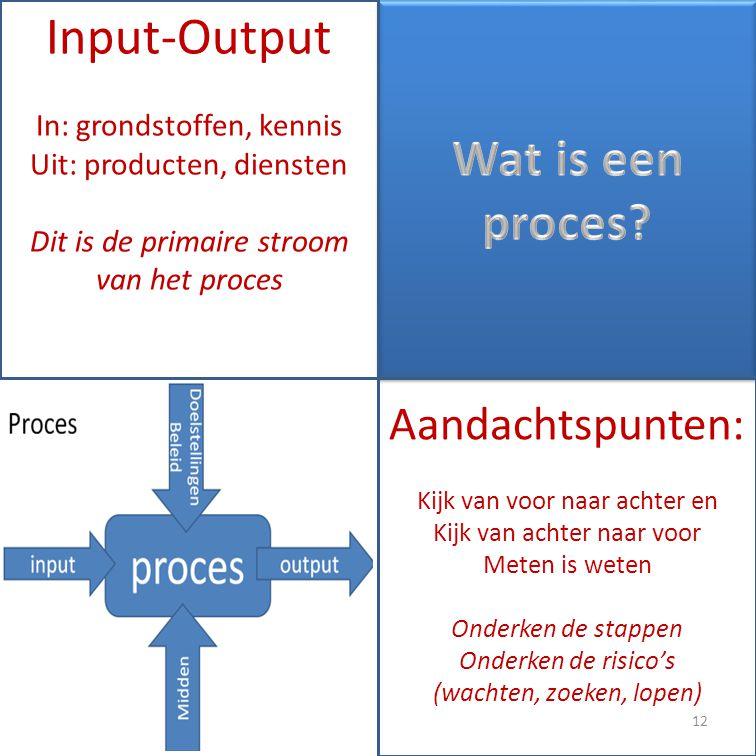 Input-Output Wat is een proces Aandachtspunten: