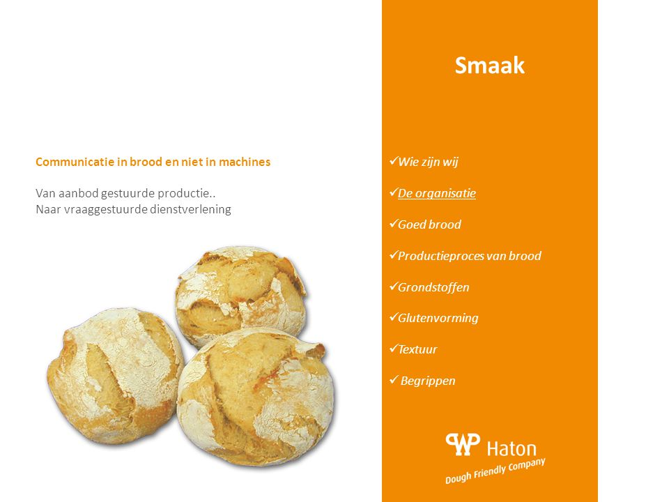 Smaak Communicatie in brood en niet in machines