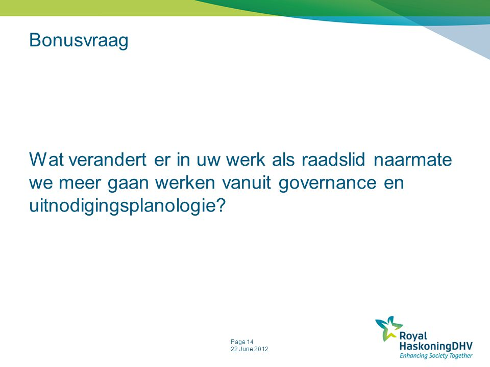 Bonusvraag Wat verandert er in uw werk als raadslid naarmate we meer gaan werken vanuit governance en uitnodigingsplanologie