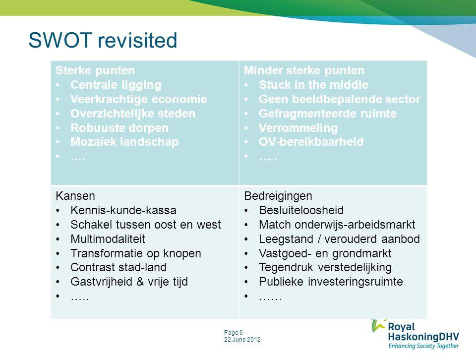 SWOT revisited Sterke punten Centrale ligging Veerkrachtige economie