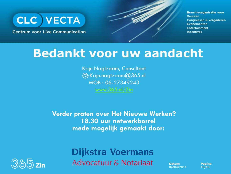 Presentatie morgen op www.clcvecta.nl