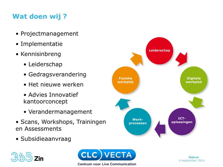 Wat doen wij Projectmanagement Implementatie Kennisinbreng