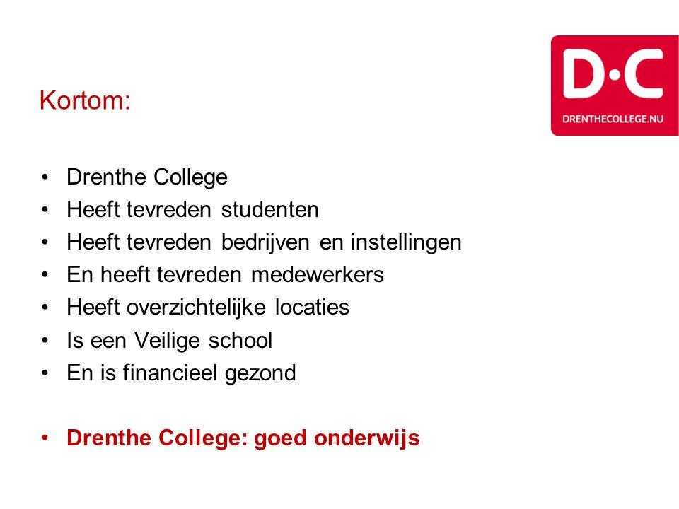 Kortom: Drenthe College Heeft tevreden studenten