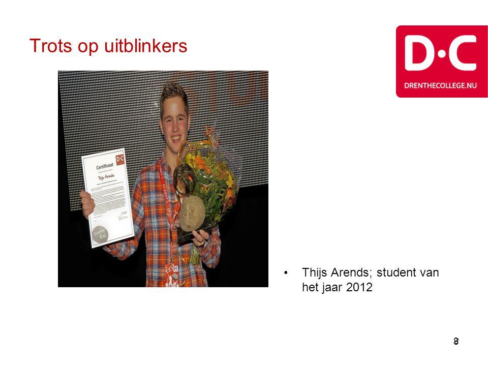 Trots op uitblinkers Thijs Arends; student van het jaar 2012 8 8 8 8