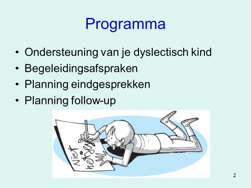 Programma Ondersteuning van je dyslectisch kind Begeleidingsafspraken
