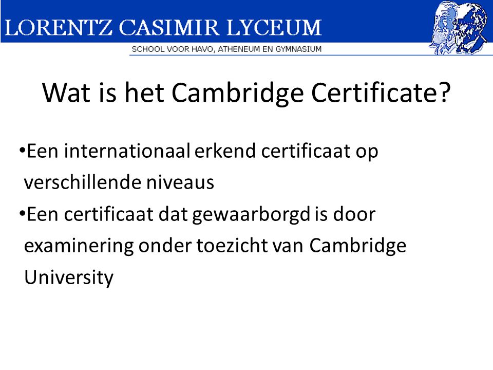 Wat is het Cambridge Certificate