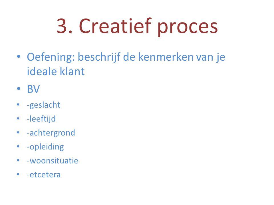 3. Creatief proces Oefening: beschrijf de kenmerken van je ideale klant. BV. -geslacht. -leeftijd.