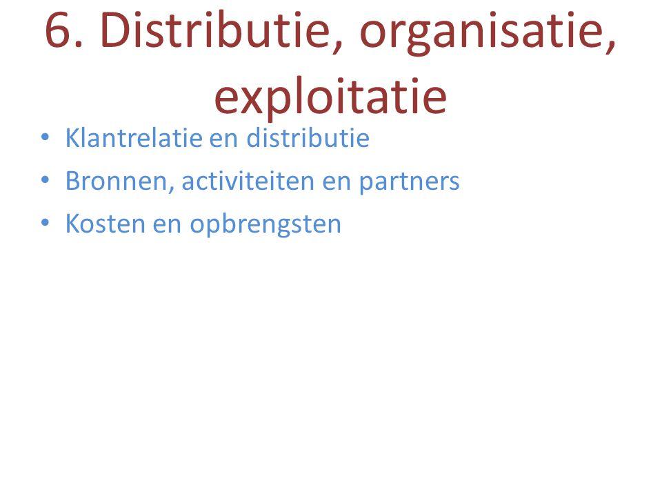 6. Distributie, organisatie, exploitatie