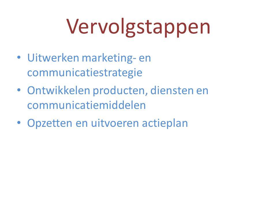Vervolgstappen Uitwerken marketing- en communicatiestrategie